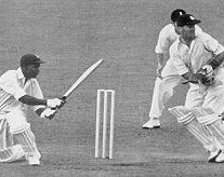 Weekes plays a sweep against England