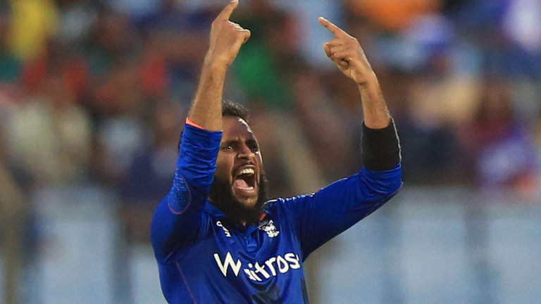 Adil Rashid celebrates another wicket in Bangladesh