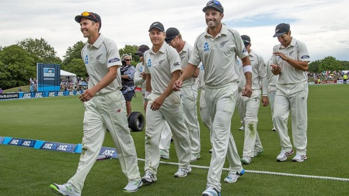 Trent Boult, left and Tim Southee lead New Zealand off the field after dismissing Sri Lanka for just 138 in Christchurch. The pair have been instrumental in New Zealand's rise