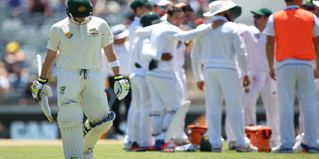 Steve Smith trudges off during another horror show from Australia under his leadership. As a captain, he is under real pressure now