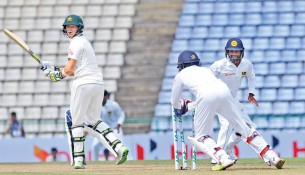 Australian captain Steve Smith looks back in anguish as he loses his wicket to spin in Pallekele. He wasn't the only Australian who struggles against spin bowling, and not for the first time in recent times, either