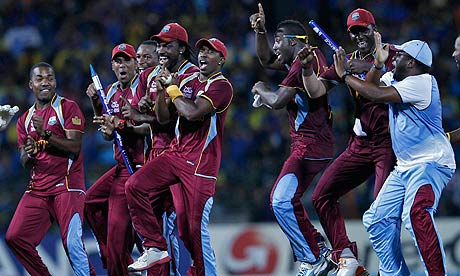 The West Indies celebrate as only they can after defeating Sri Lanka in the ICC World T20 final in Colombo