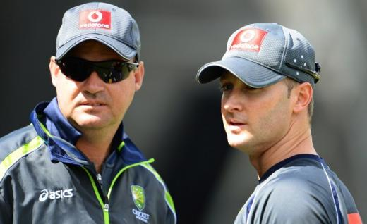 Mickey Arthur (left) and Michael Clarke were unimpressed at the lack of presentations skills in their squad