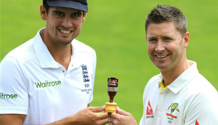 """Again and again and again... the captains pose with """"the famous little urn"""" on a seemingly endless loop"""